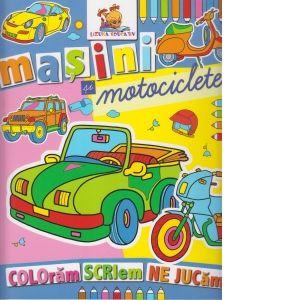 Masini si motociclete. Carte de colorat