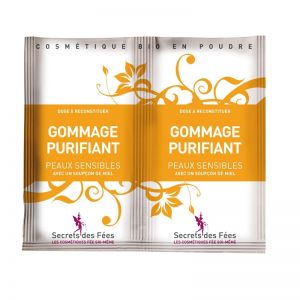 Exfoliant facial purifiant, cu miere si banana pt. ten sensibil, Secrets des Fees, 2x4g  (SDF011)