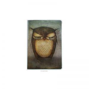 Caiet premium cu muchie cusuta A5 Eclectic Grumpy Owl