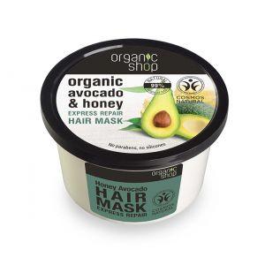 Masca de par bio reparatoare cu miere si avocado, 250 ml (2462E)