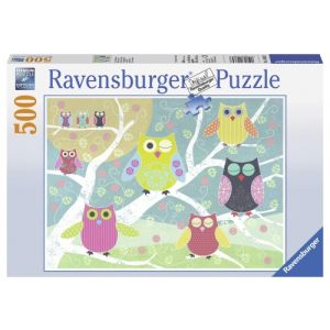 Puzzle Bufnite Colorate, 500 Piese
