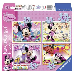 Puzzle Minnie Mouse, 4 Buc In Cutie, 12/16/20/24 Piese