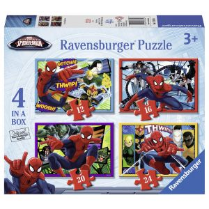 Puzzle Spiderman, 4 Buc In Cutie, 12/16/20/24 Piese