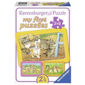 Primul Meu Puzzle Animalute, 3x6 Piese